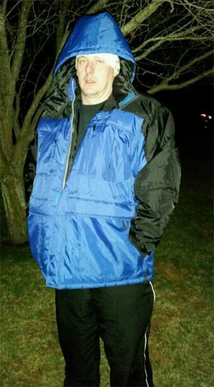 Brian wearing his Freeze Defense Coat