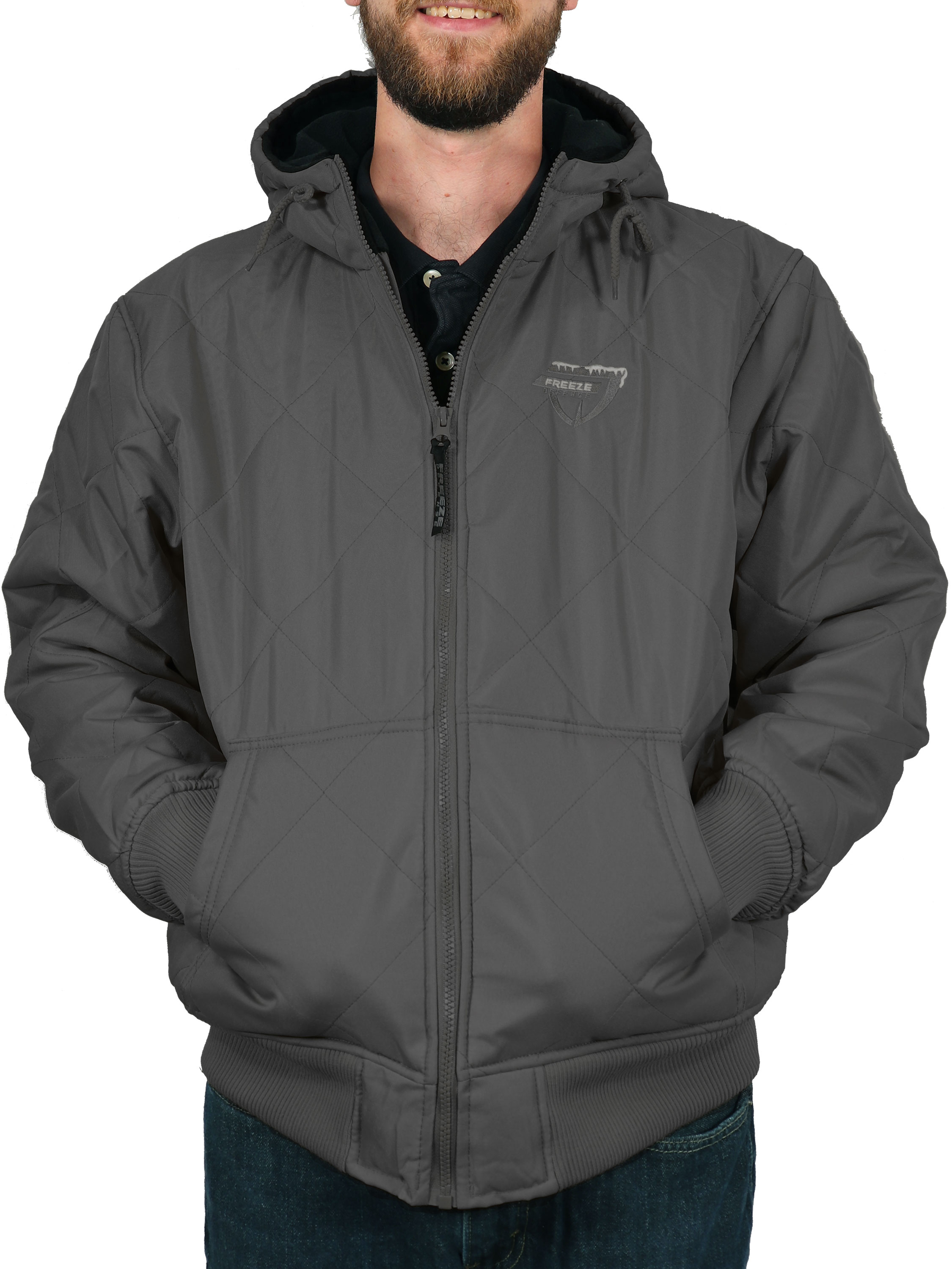 Mens Anti Pill Quilt Lined Padded Fleece Jacket Thick Warm Winter Full Zip Coat