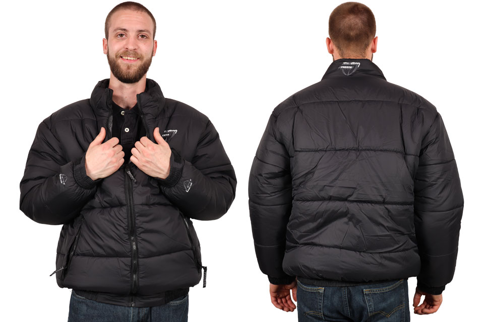 Freeze Defense Men's Puffer Jacket Front and Back Views
