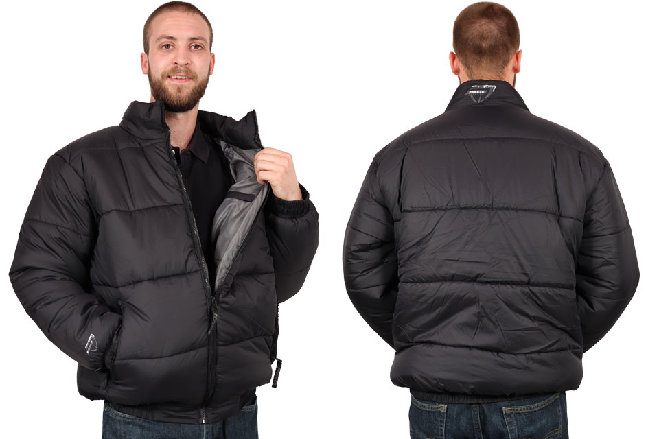 Freeze Defense Men's Puffer Jacket Front and Back Sides