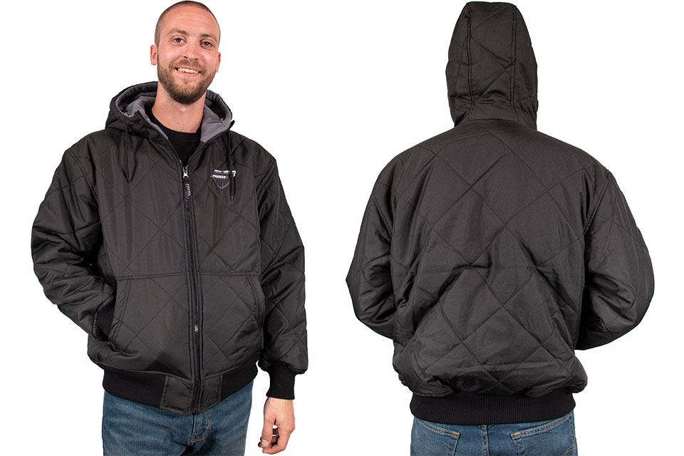 Freeze Defense Men's Quilted Fleece-lined Jacket Front and Back Sides