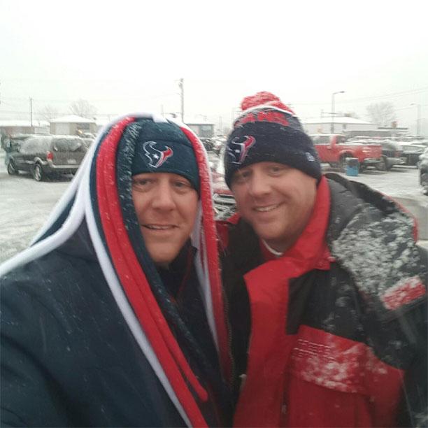 Snow at the football stadium